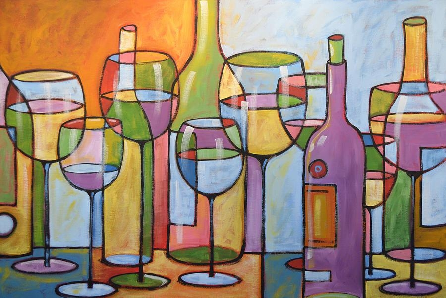 Abstract Wine Dining Room Bar Kitchen Art  Time To Relax Throughout Abstract Kitchen Wall Art (Image 8 of 20)