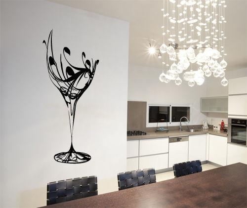 Abstract Wine Glass Wall Art Vinyl Stickers Kitchen Dining With Regard To Abstract Kitchen Wall Art (Image 9 of 20)
