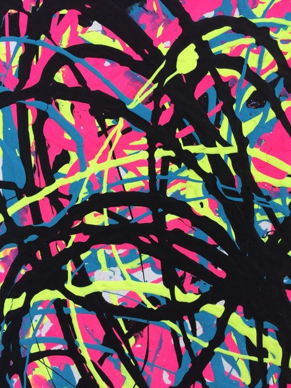 Abstract Xl Canvas Neon Pink Yellow Turquoise Art Pink Intended For Abstract Neon Wall Art (View 17 of 20)