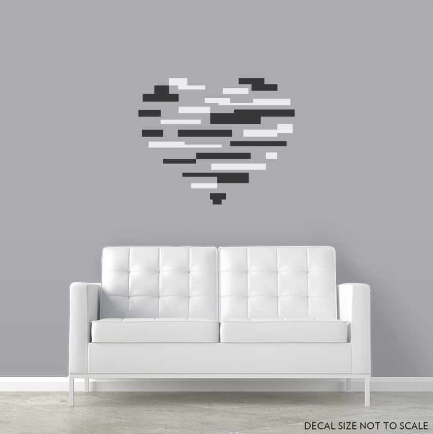 Abstract Heart Wall Decal Sticker  Intended For Abstract Heart Wall Art (Image 6 of 20)