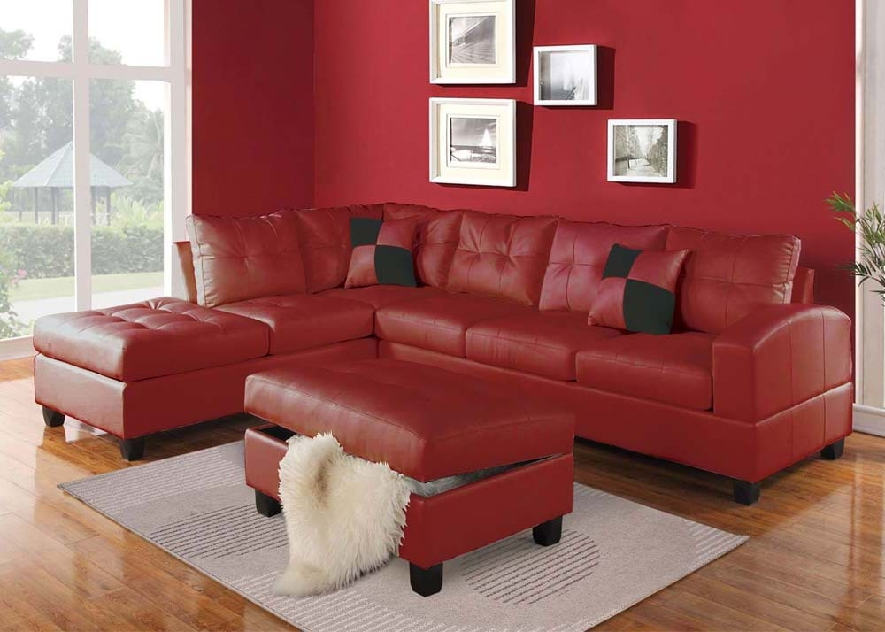 Acme Furniture Kiva 51185 Red Bonded Leather Reversible Sectional Intended For Red Sectional Sofas (Image 1 of 10)