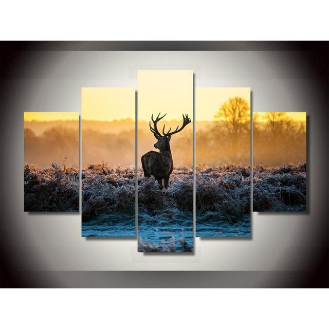 Africa Animal Deer Canvas Painting Pictures On The Wall Print Throughout Deer Canvas Wall Art (View 7 of 20)