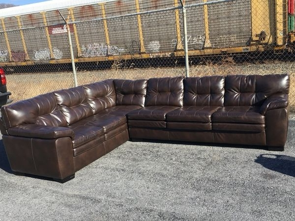 Albany Java Bonded Leather Sectional Sofa (Furniture) In Harrisburg Inside Harrisburg Pa Sectional Sofas (View 5 of 10)