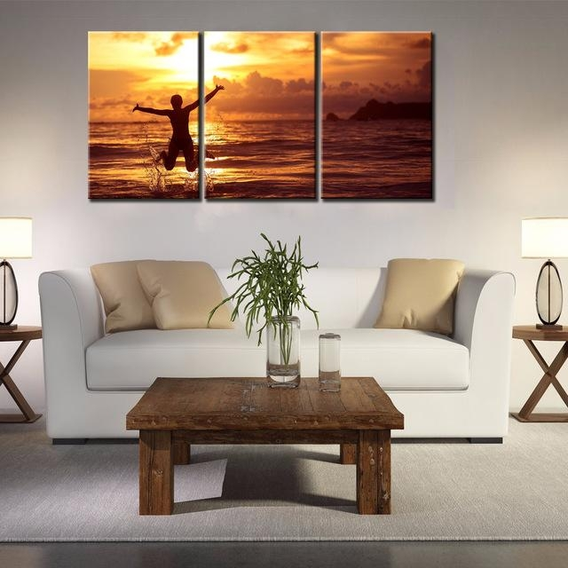 Aliexpress : Buy 3 Panels Canvas Jumping And Hug The Ocean Inside Jump Canvas Wall Art (Image 11 of 20)