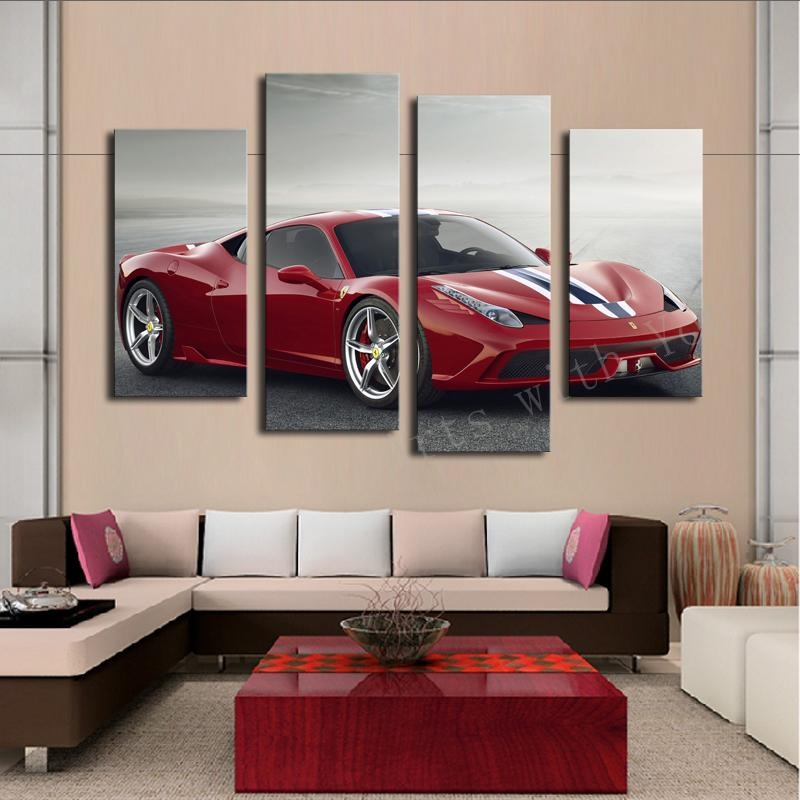 Aliexpress : Buy 4 Pcs White Sports Car Wall Art Painting Home With Cars Theme Canvas Wall Art (Image 5 of 20)