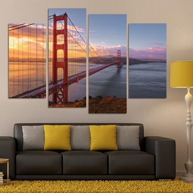 Aliexpress : Buy 4 Piece Canvas Print Canvas Painting Home Pertaining To Golden Gate Bridge Canvas Wall Art (Image 6 of 20)