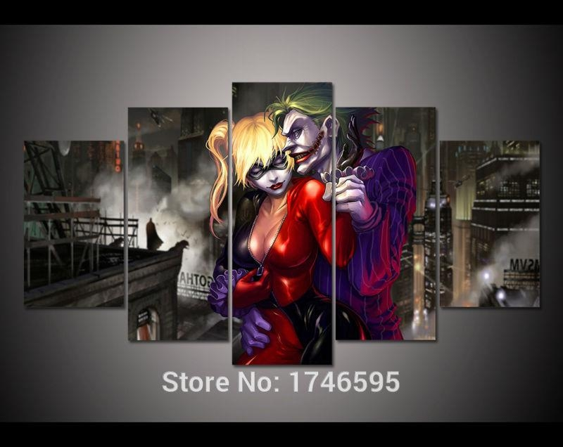 Aliexpress : Buy 5Pcs Print Canvas Wall Art Joker And Harley Within Joker Canvas Wall Art (View 14 of 20)
