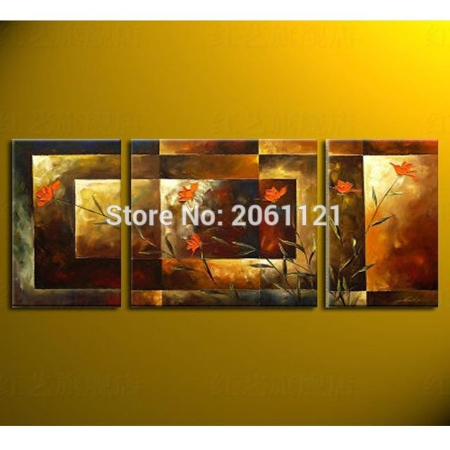 Aliexpress : Buy Hand Painted Big Size 3Pcs/set Abstract Wall Pertaining To Murals Canvas Wall Art (Image 6 of 20)