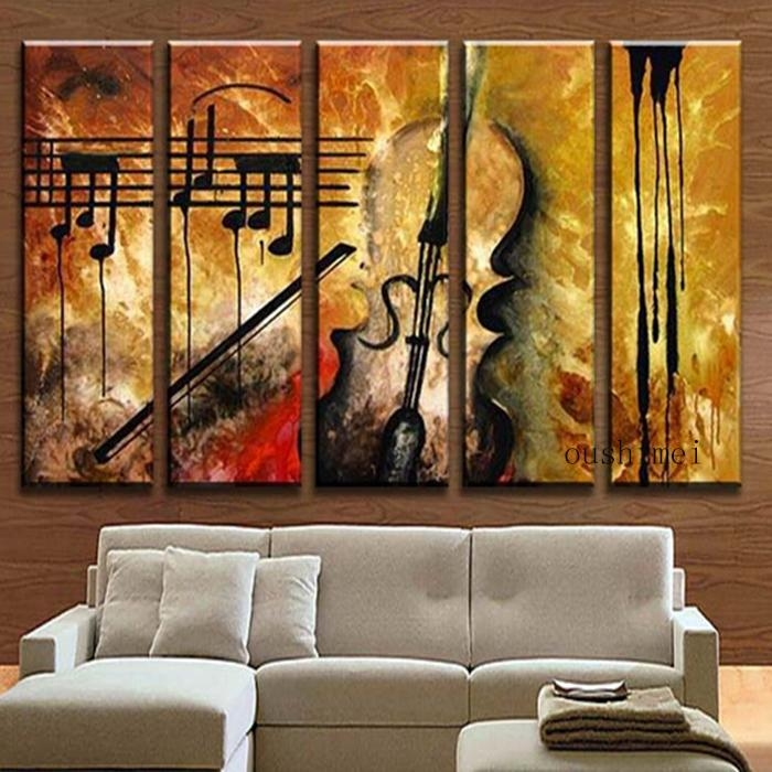Aliexpress : Buy Hand Painted Music Paintings For Living Room Within Abstract Music Wall Art (Image 3 of 20)
