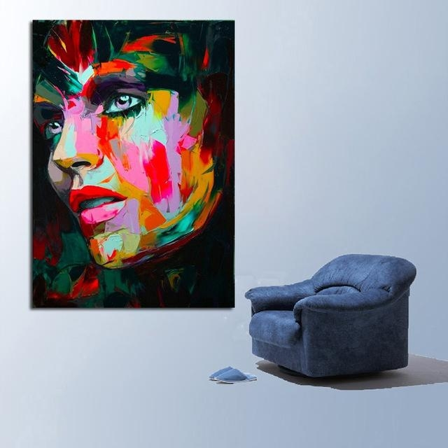Aliexpress : Buy Handpainted Free Shipping Best Quality Modern Intended For Portrait Canvas Wall Art (Image 5 of 20)