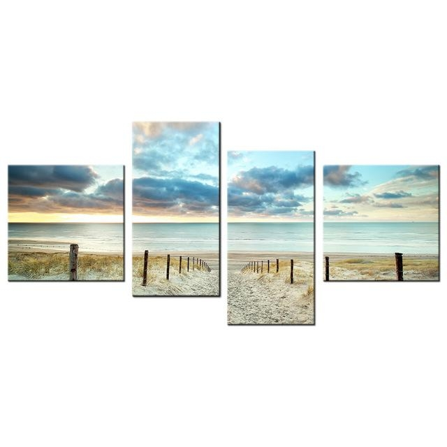 Aliexpress : Buy Hd Picture Sunset With Sand Beach Canvas Wall Pertaining To Beach Canvas Wall Art (Image 5 of 20)