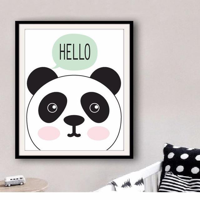 Aliexpress : Buy Kawaii Creative Posters Hello Panda Art Print Inside Modern Nursery Canvas Wall Art (View 11 of 20)