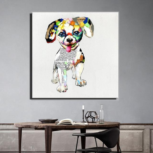 Aliexpress : Buy Large Size 70X70Cm Abstract Dogs Canvas Within Dogs Canvas Wall Art (Image 4 of 20)