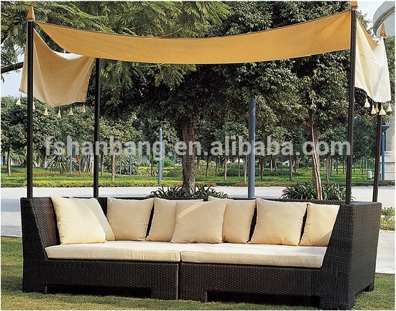 All Weather Wicker Cabana Day Bed Outdoor Indoor Rattan Lounge Intended For Outdoor Sofas With Canopy (Image 2 of 10)