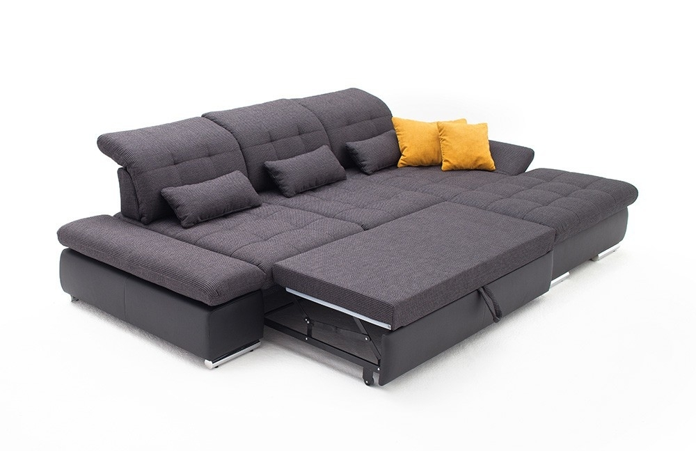 Alpine Sectional Sleeper Sofa, Right Arm Chaise Facing, Dark Grey Intended For Sectional Sleeper Sofas With Chaise (Image 1 of 10)