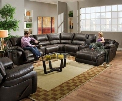 Amazing Blackjack Simmons Brown Leather Sectional Sofa Chaise Lounge Throughout Simmons Chaise Sofas (Image 1 of 10)