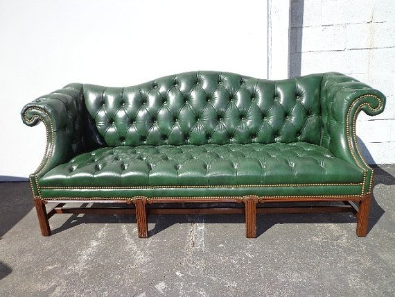 Amazing Of Green Leather Chesterfield Sofa Tufted Leather Camelback Pertaining To Tufted Leather Chesterfield Sofas (Image 1 of 10)
