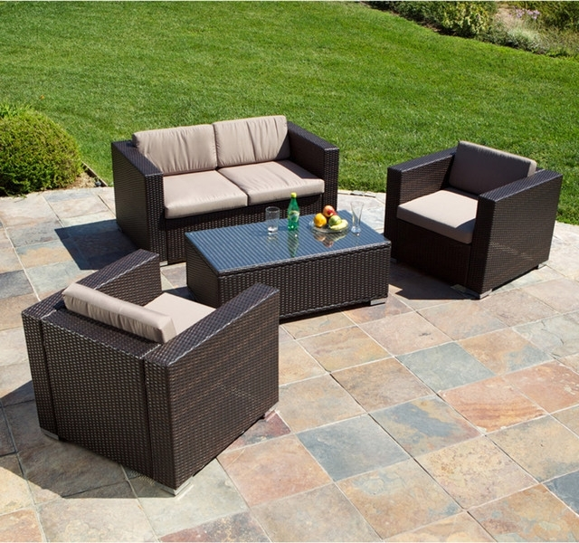 Amazon Com Outdoor Patio Sofa Furniture Round Retractable Canopy With Outdoor Sofa Chairs (Image 2 of 10)