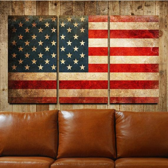 American Flag Rustic Canvas Gallery Wrapped Wall Art Triptych Intended For Rustic Canvas Wall Art (Image 6 of 20)
