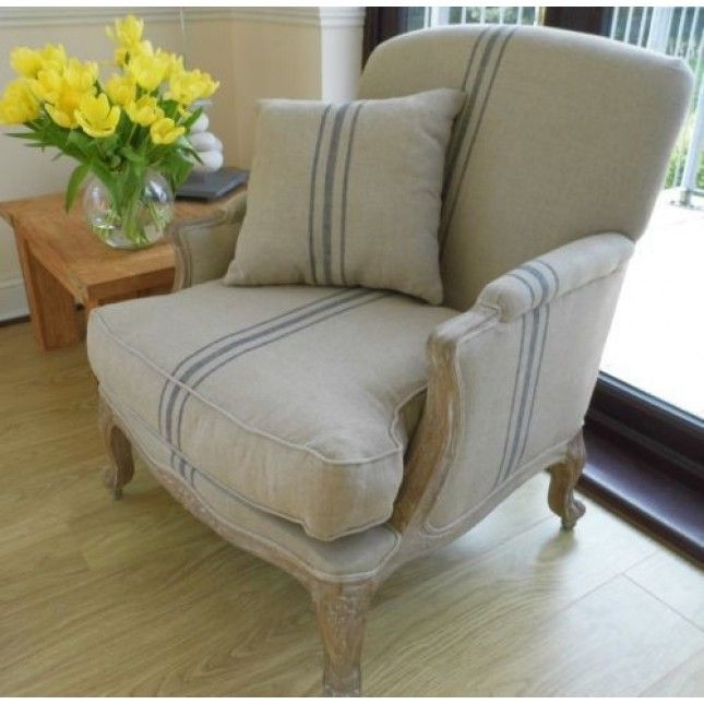 American Oak Beaumont Stripe Grey Wash Sofa Chair Sustainable Pertaining To Striped Sofas And Chairs (Image 1 of 10)