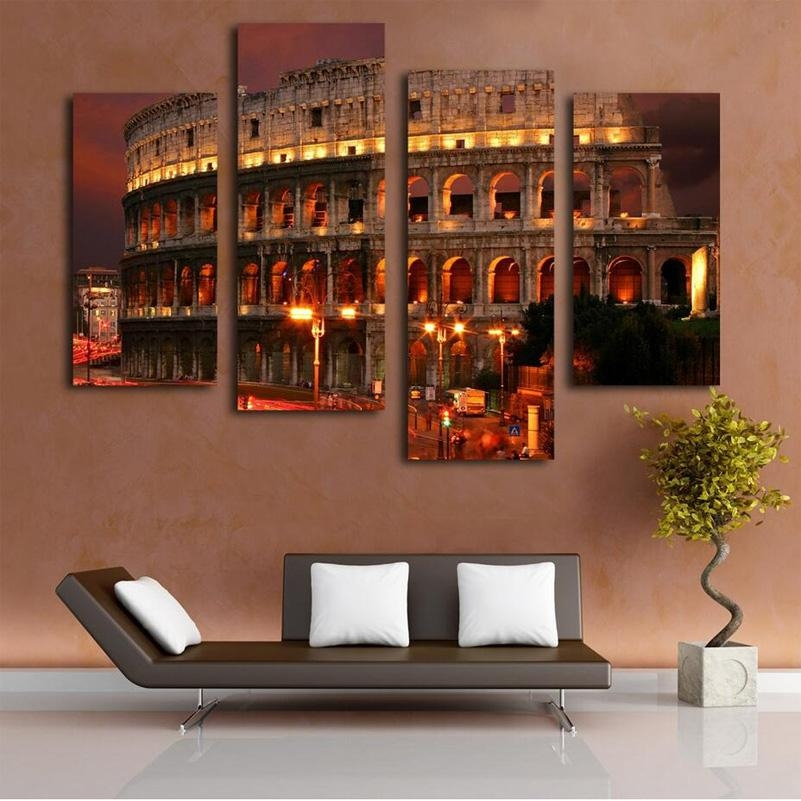 Ancient Rome Famous Building Oil Painting Wall Art Home Decoration With Regard To Canvas Wall Art Of Rome (Image 6 of 20)