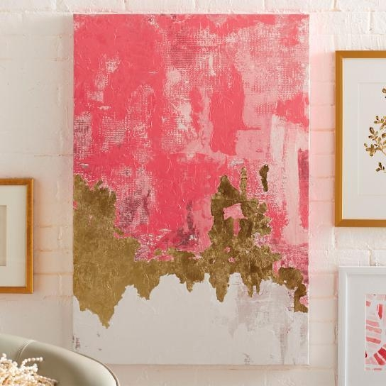 And Gold Abstract Brushwork Artwork Intended For Pink Abstract Wall Art (Image 5 of 20)