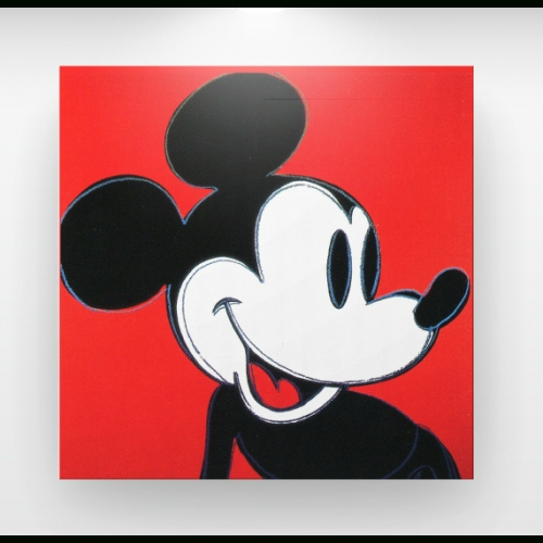 "Andy Warhol ""mickey Mouse"" Pop Art Canvas Print (Black/red With Regard To Mickey Mouse Canvas Wall Art (View 17 of 20)"