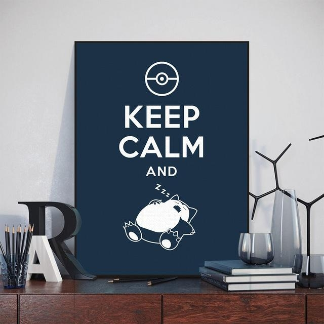 Anime Game Pokemon Snorlax Keep Calm Quote Painting On Canvas With Regard To Keep Calm Canvas Wall Art (Image 2 of 20)