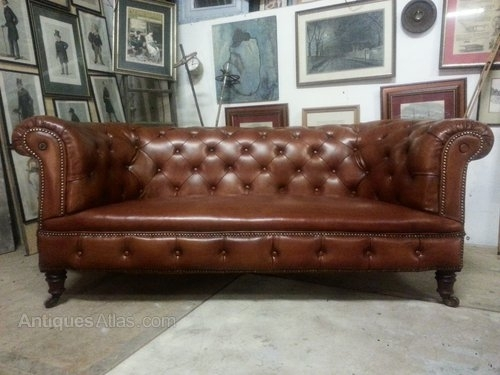 Antique Victorian Leather Chesterfield 3 Seat Sofa – Antiques Atlas Inside Victorian Leather Sofas (Image 3 of 10)