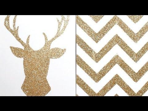 Apartment Decor Diy: Glitter Canvas Wall Art – Youtube With Glitter Canvas Wall Art (Image 1 of 20)