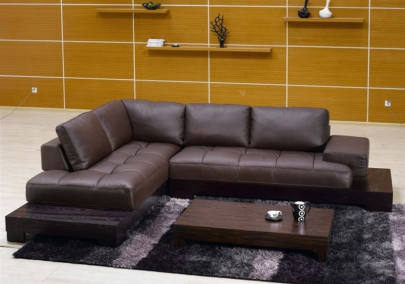 Appealing Brown Leather Sectional Sofa Tos Fy633 2 Br On Modern Intended For Vt Sectional Sofas (Image 2 of 10)