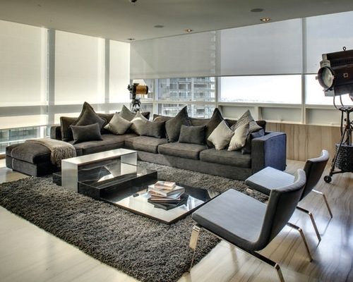 Appealing Dark Gray Sofa With Sectional Houzz In Grey Living Room Within Houzz Sectional Sofas (Image 3 of 10)