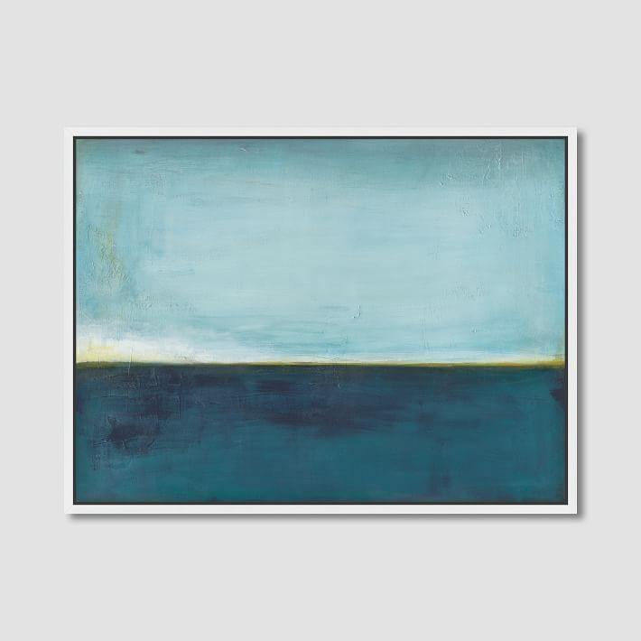 Aqua Horizon Wall Canvas Art Pertaining To Abstract Horizon Wall Art (Image 1 of 20)