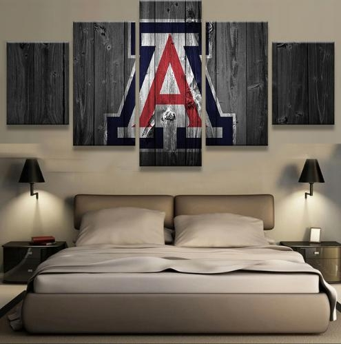 Arizona Wildcats College Basketball Team Logo 5 Piece Canvas Wall Throughout Arizona Canvas Wall Art (View 15 of 20)