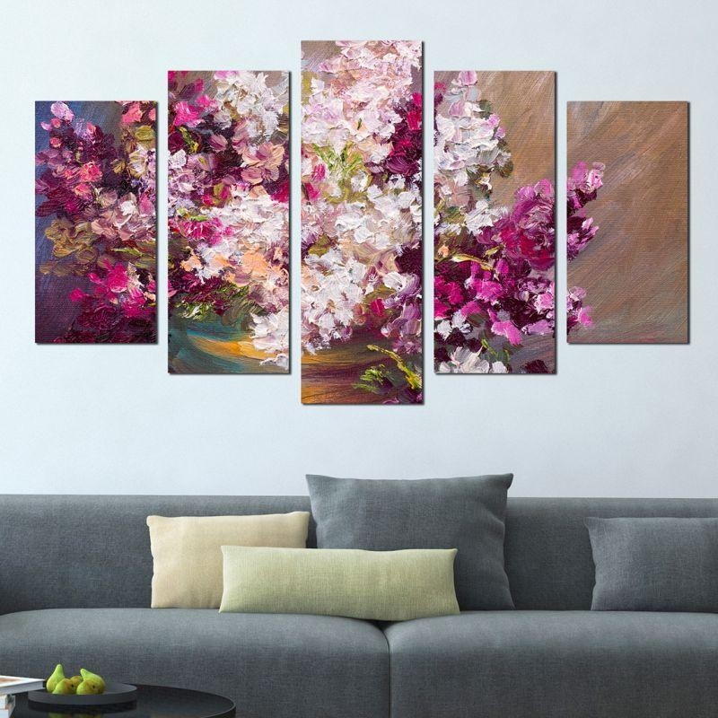 Art Canvas Wall Decoration Set With Lilac For Lilac Canvas Wall Art (Image 1 of 20)