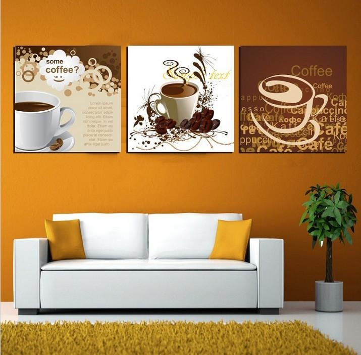 Art Deco Home Decor | Free Shipping Art Deco Wall Pictures 3 Panel Regarding Coffee Canvas Wall Art (Image 4 of 20)