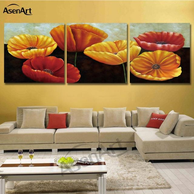 Art Painting Corn Poppy Flower Wall Picture 3 Pieces Modular Regarding Poppies Canvas Wall Art (Image 4 of 20)
