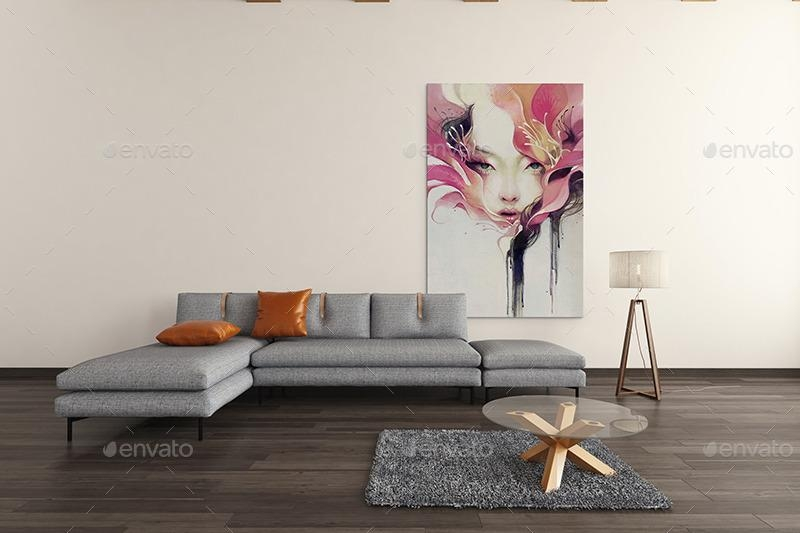 Art Wall Mockups Vol7Wutip | Graphicriver Regarding Mockup Canvas Wall Art (Image 11 of 20)