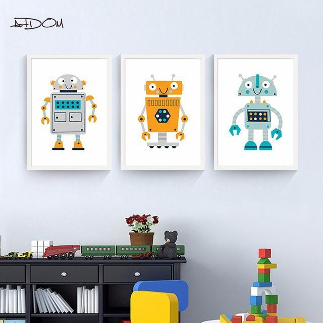 Artdom No Framed Nordic Modern Cartoon Robot Posters And Prints For Robot Canvas Wall Art (Image 2 of 20)