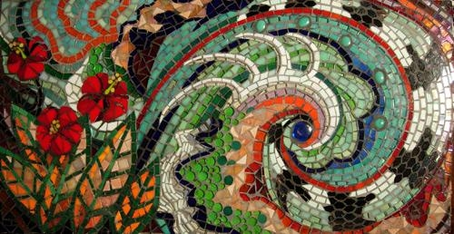 Artist Gallery Pictures Of Glass Tile Mosaic Backsplash Floral In Abstract Mosaic Wall Art (View 19 of 20)