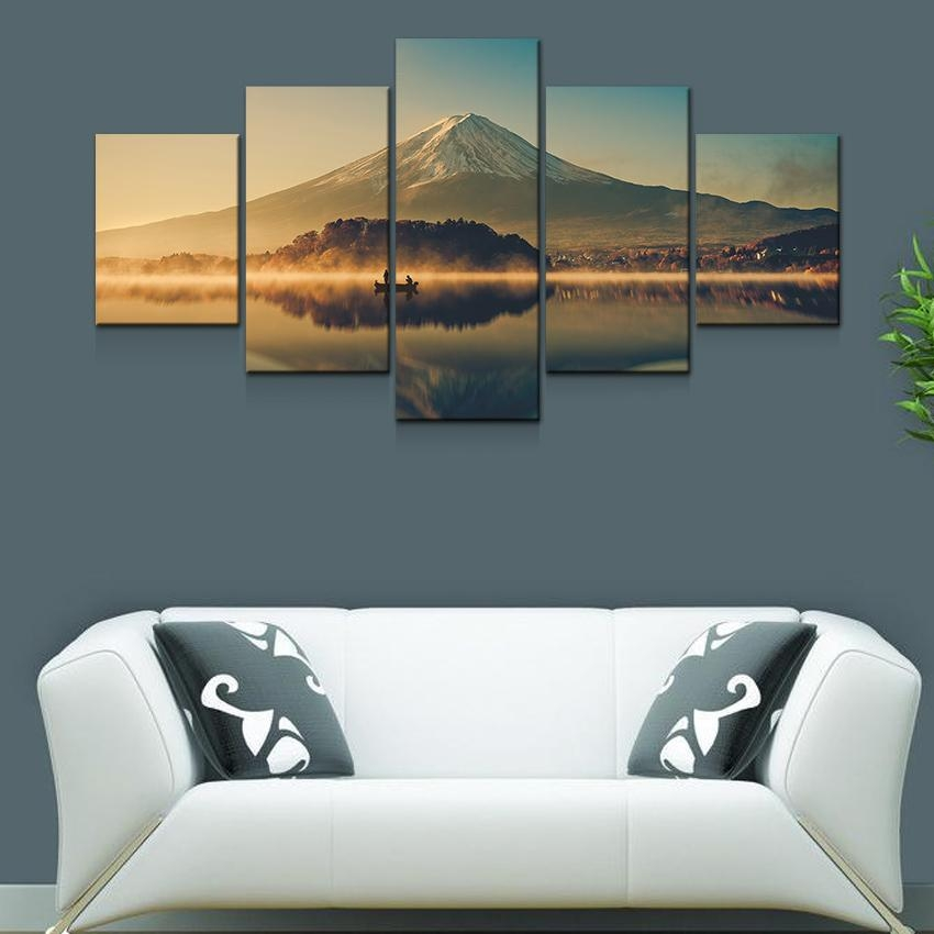 Artryst Large Canvas Wall Art 5 Panel Modern Painting And Prints For Japanese Canvas Wall Art (Image 5 of 20)