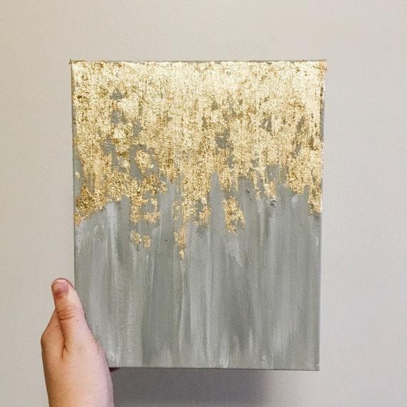 As Seen In Hgtv Magazine, Gold Leaf Painting, Multiple Sizes Pertaining To Abstract Leaves Wall Art (Image 5 of 20)