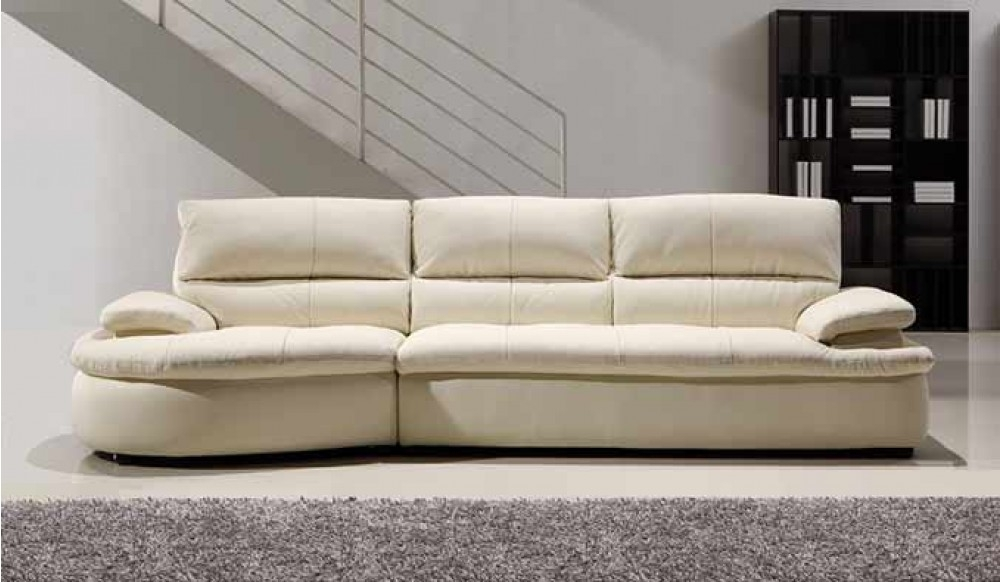 Ascoli White Leather Sofa – 4 Seater – Modern Style  Delux Deco Intended For 4 Seater Sofas (Image 3 of 10)