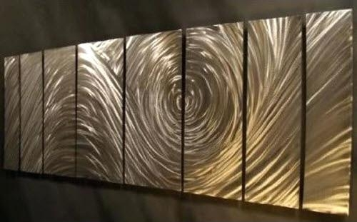 Ash Carl Metal Art Ash Carl Forever 7 Panel Abstract Metal Wall With Abstract Metal Wall Art Panels (View 14 of 20)