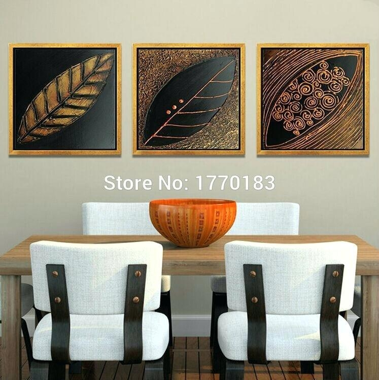 Asian Canvas Wall Art 3 Panels Hand Made Dry Leaves Canvas Art Within Leaves Canvas Wall Art (View 9 of 20)
