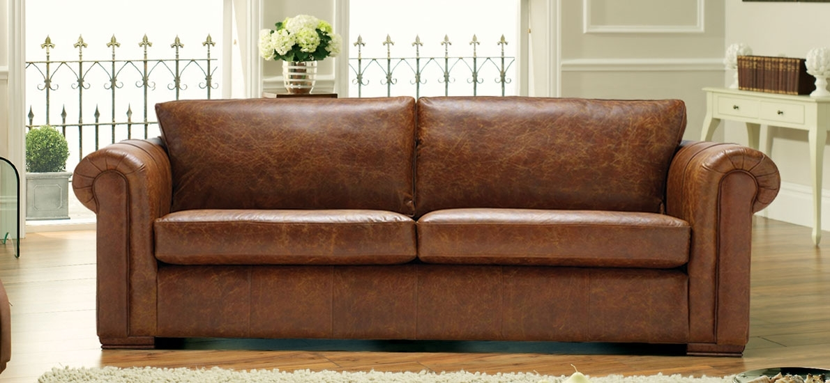 Aspen 4 Seater Real Leather Sofa | Handmade In The Uk | Sofasofa Within 4 Seater Sofas (Image 5 of 10)