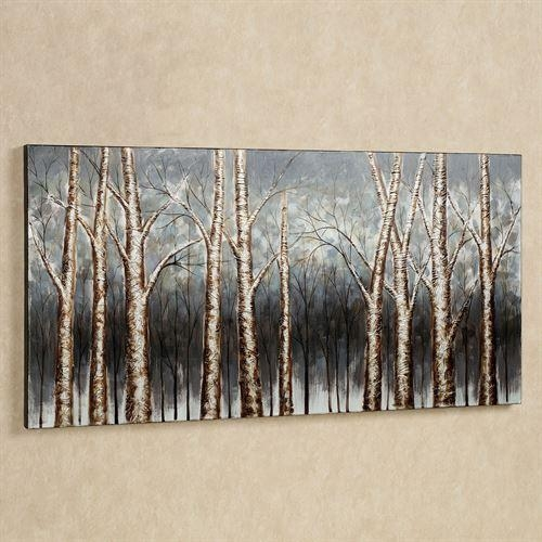 Aspen Tree Grove Handpainted Canvas Art Pertaining To Hand Painted Canvas Wall Art (Image 3 of 20)