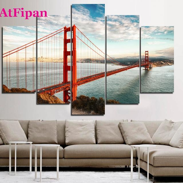 Atfipan Unframed California Sky Golden Gate Bridge Canvas Painting For Golden Gate Bridge Canvas Wall Art (Image 7 of 20)
