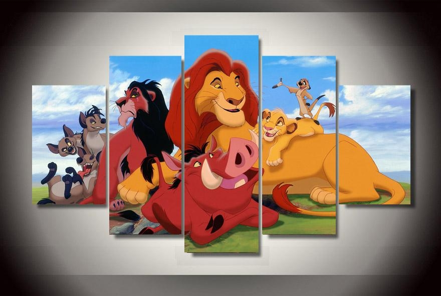 Atfipan Unframed Canvas Painting Cartoon The Lion King Poster Hd With Regard To Lion King Canvas Wall Art (Image 8 of 20)