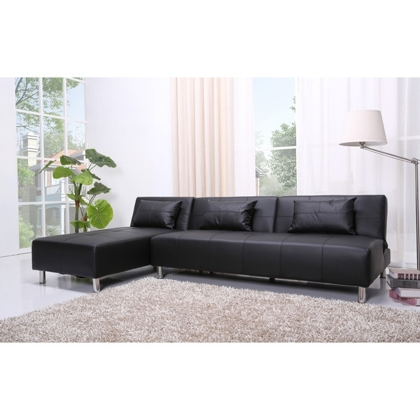 Atlanta Black Faux Leather Convertible Sectional Sofa Bed – Free Intended For Sectional Sofas In Atlanta (Image 1 of 10)